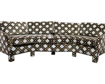 Brown and White Geometric Lattice 1970s Angled Three-Sided Sofa