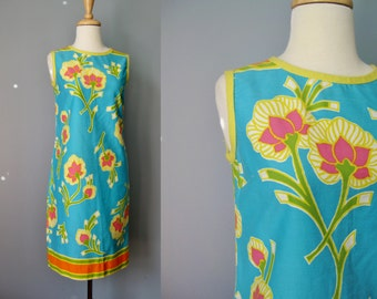 "Sleeveless Print Dress  / Vtg60s / ""R.A.R."" Hawaiian Floral Print Cotton Shift Dress / Yellow Blue Pastel Floral print Dress / House Dress"