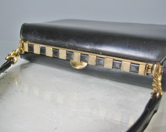 Small Kelly bag / Vtg 50s / Black Kelly bag from Nicholas Reich/  Frame Handbag / Art Deco Egyptian Revival frame bag / Chain Strap