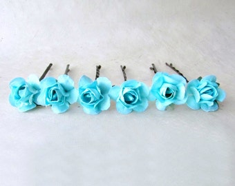 Turquoise Hair Pins. Tropical Blue Rose Bobby Pins. Bright Blue Wedding Hair Accessories. Small Paper Flower Hair Pins Set of 6.