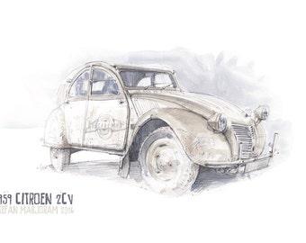 1959 Citroen 2CV - Original A3 Watercolour Sketch