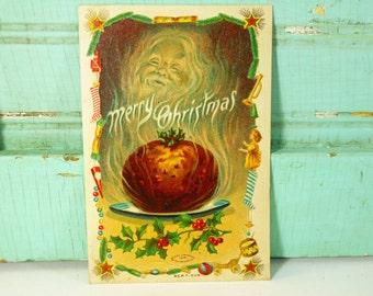 Antique Christmas Plum Pudding & Santa Ghost Postcard