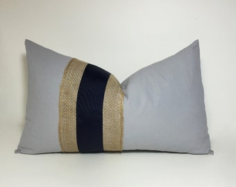 Burlap and ribbon pillow cover. Grey pillow, Navy ribbon pillow cover. 12x20 Decorative lumbar.  Grey navy home decor throw pillow. modern