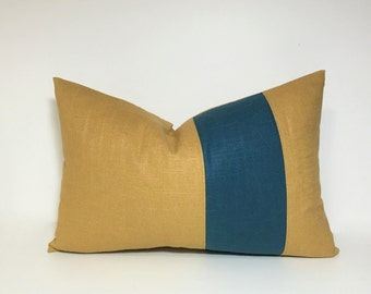 Linen Colorblock pillow cover. Teal and golden amber accent throw pillow.  Turquoise and mustard home decor accent