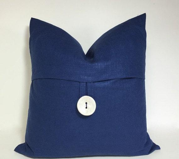 Button pillow cover dark blue linen slub button accent throw