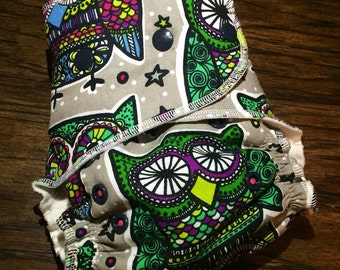PREORDER - Owl Hybrid Fitted Cloth Diaper - Hybrid Fitted - WAHM Cloth Diaper - Baby Shower Gift - One Size 10-35 lbs - Hootin Owl