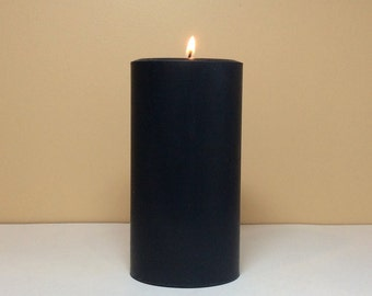 """Tall Black Soy Pillar Candle Unscented - Choose 9"""" or 12"""" Height"""