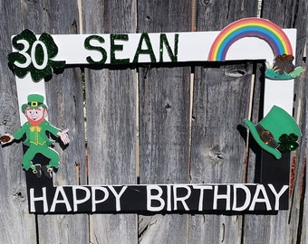 Birthday, Baby Shower, Wedding,Green, Silver and Black Irish Themed Party Photo Prop Frame