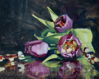 Oil painting: Tulips and Catkins