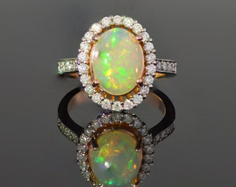 Opal, Center Stone,  Diamond, Halo, 14k, Rose Gold, Gold, Engagement, Right Hand, Ring