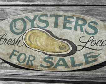 Oyster Sign, hand painted  wooden ZFS O2