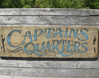 Captain   Quarters  Sign, original hand painted, wood Sign Z MC 3
