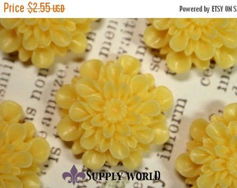 ON SALE Resin Cabochon - 5pcs - Flower Cabochon - Yellow - Cabochon - SW150-3