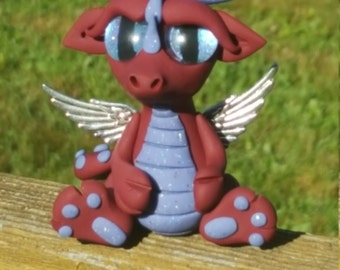 One of a kind burgundy and blue ARAARTISTICCREATIONS dragon