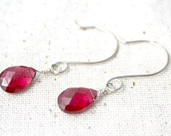 Hot Pink Quartz and Sterling Silver Earrings / Semi-Precious Gemstone Jewelry / E4