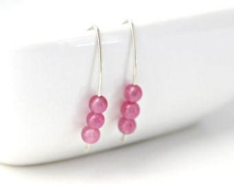 Hot Pink Dyed Jade Sterling Silver Earrings / Silver Minimalist Earrings / Bright Summer Jewelry / E211