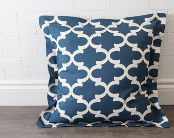 "26x26"" Blue and Natural Moroccan Lattice Euro Pillow Sham with 2"" Flange"