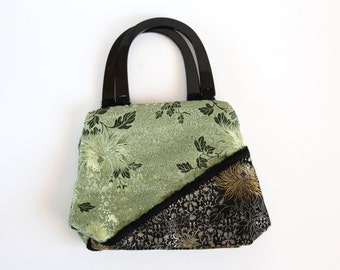 SALE ITEM 35% OFF Sale Item / Pea Green & Black Oriental Chrysanthemum Vintage Purse / Hand Bag