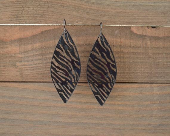 Large Black Filigree Earrings - Leaf Earrings - Zebra Earrings - Black Statement Earrings - Dangle Earrings - Lightweight Earrings