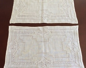Vintage Linen Placemats (5) with Woven Design