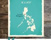 Philippines Custom Wedding Print Destination Wedding Gift  Memento Couple print Signature Guest Books Philippines map Manila Signature Map