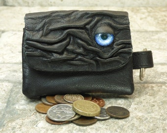 Hocus Pocus Coin Purse Black Leather Zippered Change Purse With Face And Key Ring Monster Halloween Accessory