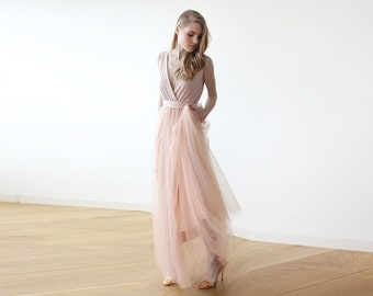 Maxi pink tulle bridesmadis gown , Pink Tulle fancy maxi dress