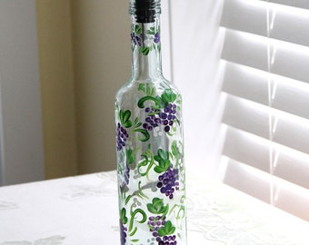 Hand Painted Oil and Vinegar or Soap Dispenser Grape Vineyard Theme