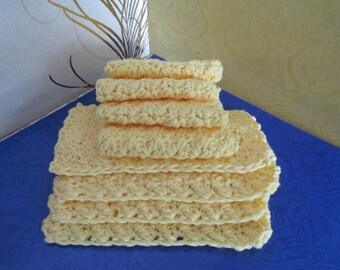 COTTON DISHCLOTH Yellow Butter Crochet 8 Pcs    3 Sets available