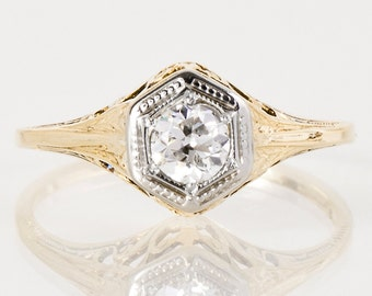 Antique Engagement Ring - Antique 14k Yellow & White Gold Diamond Engagement Ring