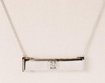 Vintage Necklace - Vintage 1930's 14k White Gold Diamond Bar Necklace