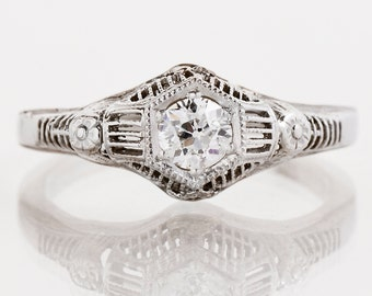 Antique Engagement Ring - Antique Edwardian 14k White Gold Filigree Diamond Engagement Ring