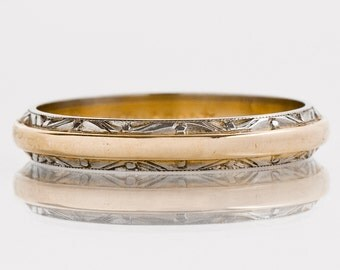Antique Wedding Band - Antique 1930's 14k Two-Tone Etched Wedding Band