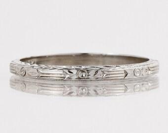"Antique Wedding Band - Antique 18k White Gold Signed ""Belais"" Etched Wedding Band"