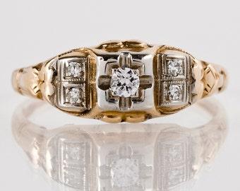 Vintage Engagement Ring - Vintage 14k Yellow & White Gold Diamond Engagement Ring
