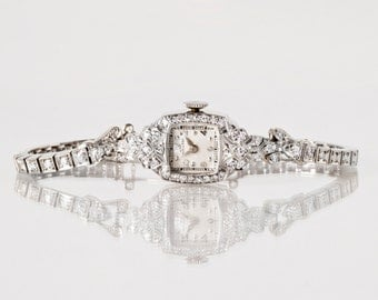 Vintage Watch - Vintage Hamilton Platinum & 14k White Gold Ladies Diamond Watch
