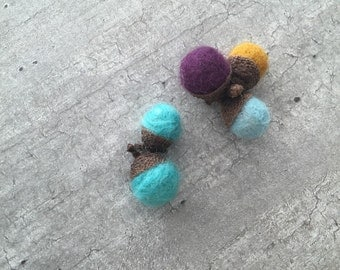 Acorns felted eco Norwegian nature woodland decor autumn fall thanksgiving mint mustard purple