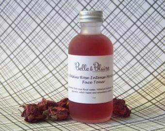 Best Seller! Hibiscus Rose Intense Moisture Face Toner- Vegan- Plant Based Organic Skin Care- Natural Facial Toner- Floral Toner- 2oz
