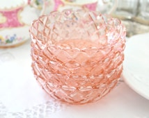 Antique, Waterford, Waffle Pattern, Hocking Glass Company, Pink Glass, Set of 4 Dessert Bowls, Replacement China - c. 1938 - 1944