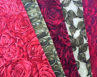 Rose Whispers Fabric End of Bolt Bundle - Clothworks Textiles OOP HTF