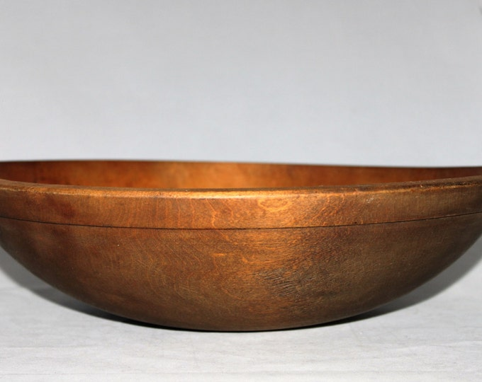 Antique Large Wood Dough Bowl Solid Maple, Center Piece