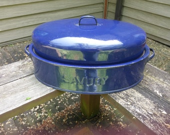 Vintage Cobalt Blue Enamelware Roasting Pan - Savory Roasting Pan - Blue Roaster