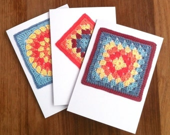 Crochet Greetings Cards - Set of 3 - Gift for Crocheter Granny Square Photographic Notecards Recycled