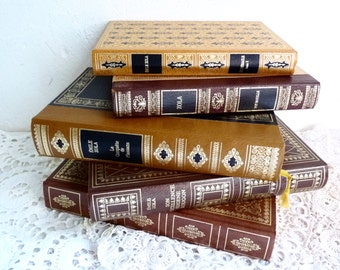 Vintage BOOK COLLECTION, Shades of Brown, Yellow and Beige with Gold Lettering. Decorative Book Set of 5, 1970s.