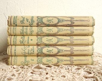 Set 89: Antique Decorative Set of 5 Nelson Books, French Classics, Cream Color, Ornate Cover, Wedding Decoration. 1930s.