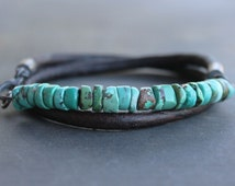 Trendy Mens Bracelet: Turquoise Leather sterling silver mens jewelry third anniversary gift for men, Fathers day gift