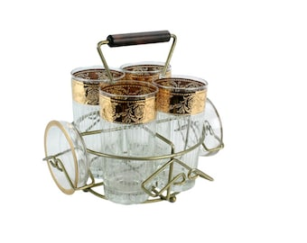 Vintage Gold Scroll Tyrol Culver Highball Caddy with Coasters // Vintage Gold Band Glassware // Mid Century Caddy Barware Set