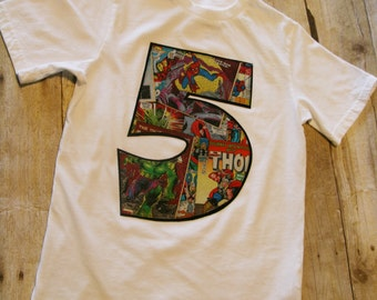 Boys Custom Marvel Comic Birthday Number Shirt