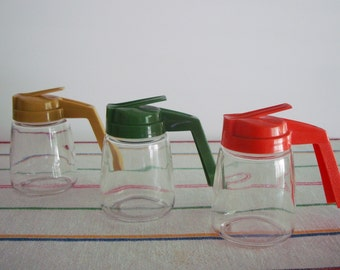 Vintage TRIO of SYRUP DISPENSERS with Colorful Plastic Lids- 1970s Orange, Olive Green and Harvest Gold