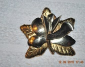 """Silver Gold Floral Brooch Mexico P 87 Marked Beautiful Design 3"""""""